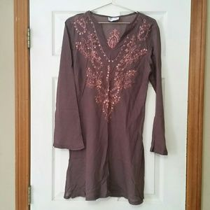 Funky People Brown Sheer Tunic Embroidery Sequins